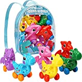 Dinosaur Toys for 3 Year Olds, 6 Pack Wind Up Pull Back Dinosaur Toys for 3,4,5,6 Years Old Girls Toddlers Boys, Dinosaur Birthday Party Supplies Favors, Girls Dinosaur Toys with Dinosaur Backpack
