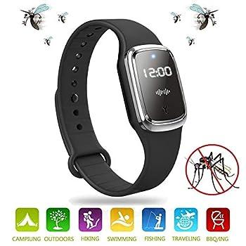 Ultrasonique Bracelet Anti-moustiques Bandes Répulsif Ultrasons Bracelet Anti-Insectes Montre Electronique pour Enfants et Adultes Camping l'escalade la randonnée (Noir)