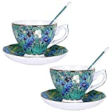 YYAI-HHJU Famous Painting Coffee Set With Spoon Vintage Pottery Tea Set Saucer Service Tea Service For Adults,Afternoon Tea Party, Tea Cups (Color:Set Of 2)