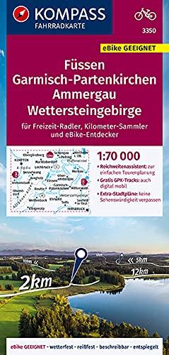 KOMPASS Fahrradkarte Füssen, Garmisch-Partenkirchen, Ammergau, Wettersteingebirge 1:70.000, FK 3350: reiß- und wetterfest mit Extra Stadtplänen (KOMPASS-Fahrradkarten Deutschland, Band 3350)