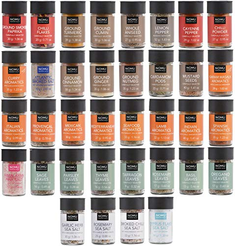 NOMU 36-Piece Complete Variety Set of Spices, Herbs, Seasoning Blends & Finishing Salts Range | 42.7 Oz | Non-irradiated, No MSG or Preservatives