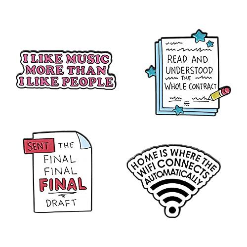 4 unids/set broche de esmalte con letras de dibujos animados, etiqueta de personalidad, broche de señal WIFI, Pin, chaqueta, Collar, insignia, decoración