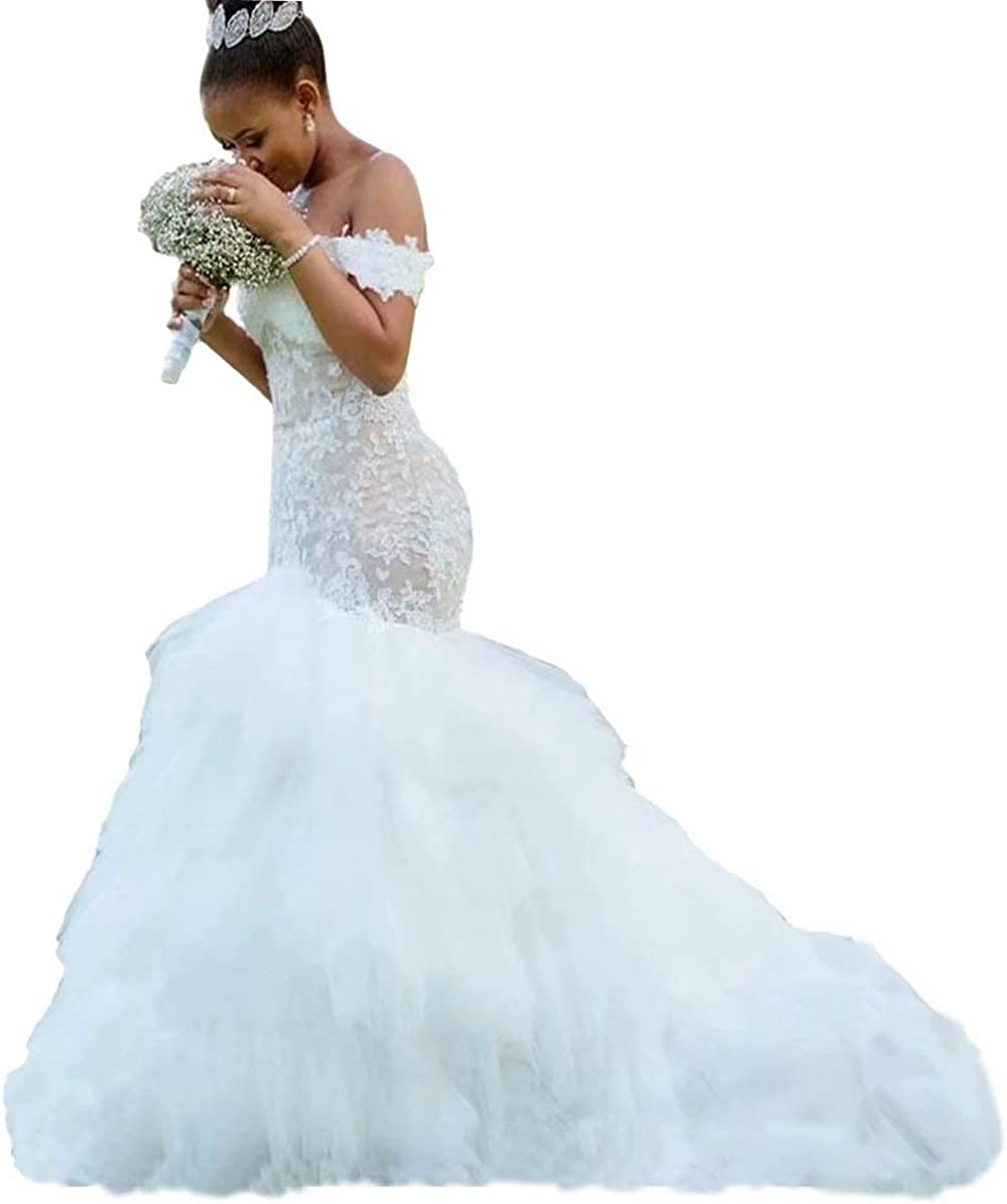 Yuxin Modest Mermaid Wedding Dresses 20 Off Shoulder Ruffles Tulle Lace  Bridal Gowns