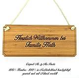 Mr. & Mrs. Panda Türschild Nachname Hirth Classic Schild - 100% handgefertigt aus Bambus Holz - Anhänger, Geschenk, Nachname, Name, Initialien, Graviert, Gravur, Schlüsselbund, handmade, exklusiv