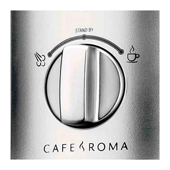 Breville esp8xl cafe roma stainless espresso maker 4 stainless-steel espresso machine with 15-bar thermoblock pump dual-wall filter system for excellent crema; froth enhancer, cup-warming plate accesories: stainless steel frothing pitcher tamping tool/measuring spoon/cleaning tool