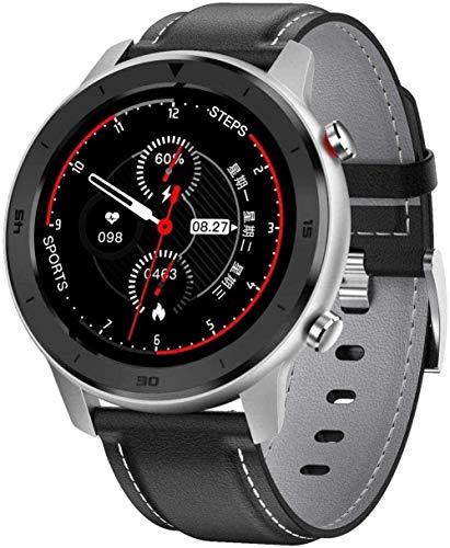 Smart Watch 1 3 pulgadas de alta definición de pantalla táctil multifuncional modo deportivo podómetro impermeable pulsera Bluetooth inteligente para Android y Ios-negro cuero gris