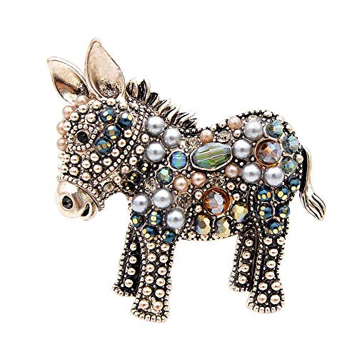 Brooches Cute Beads Donkey Brooches for Women Fashion Animal Pins Elegant Coat Accessories Gift Brown
