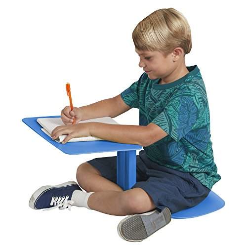 ECR4Kids The Surf Portable Lap Desk, Laptop Stand, Writing Table, Kids' Travel-Friendly Tray, Flexible Collaborative Seating for Teens and Adults, One-Piece Desk, GREENGUARD [GOLD] Certified, Blue