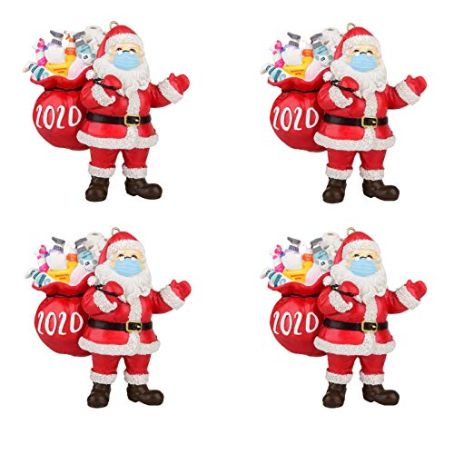 2020 Santa Claus Ornaments, 2020 Christmas Ornament Santa Wearing A Mask in Quarantine! Keepsake Unique Luxury Ornament for Tree (4PC)