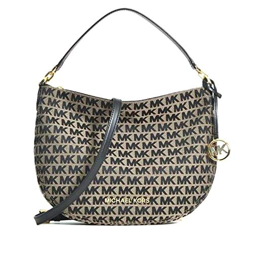 "Made of MK logo canvas with leather trims and straps Removable and adjustable shoulder strap, wear crossbody, over the shoulder or carry by hand Top zip closure Inside 1 zip pocket and 2 slip pockets 12.5""L x 9.5""H x 3""D"