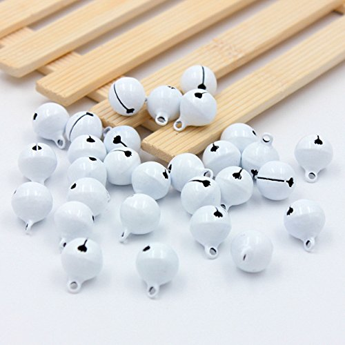 Topxome 10pcs Christmas Bells Iron Loose metal Beads Jingle Bells Christmas Decoration Pendants DIY Crafts Handmade Accessories 1414mm(white)