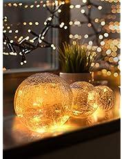 LED glazen bal 3-delige set - Exclusieve grootte, warm wit, incl. timer en krasbescherming - 10, 12 en 15cm decoratieve ballen op batterijen - Harmonische LED lichtballen als unieke decoratie