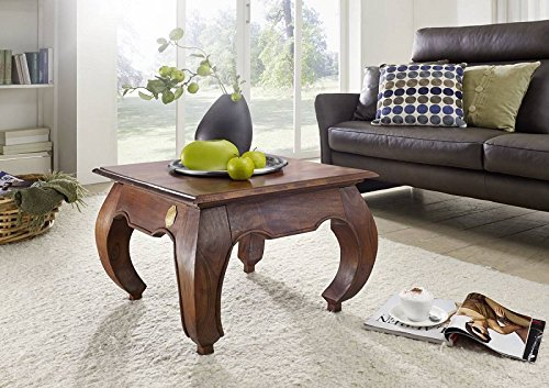 MASSIVMOEBEL24.DE Table Basse carrée 60x60cm - Bois Massif d'acacia laqué - Inspiration Ethnique-Coloniale - Opium #612