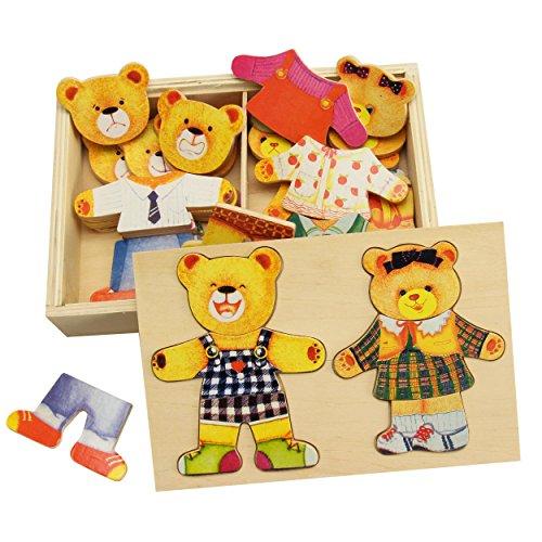 trendmarkt24 Bärenfamilie, Ankleide-Puzzle Holz hervorragendes Mimikspiel für die kindliche Entwicklung Kinderpuzzle mit praktischer Holzbox ca. 21x14 cm Bären-Holz-Puzzle ab 3 Jahre 5421