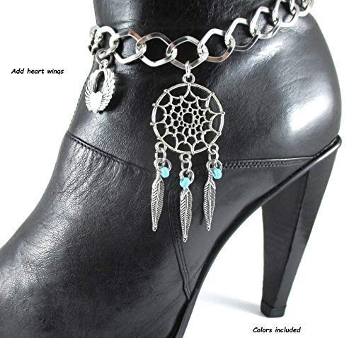 Dream Catcher Feathers Angel Wings Motorcycle Boot Bracelet Bling Chain Western Cowgirl Accessory