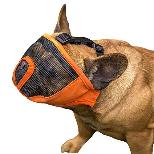 ZHYING Bozal para Perros para Bulldog Francés, Cubierta Bucal Ajustable Y Transpirable para Mascotas, Evita Morder, Ladrar Y Masticar, Agua Permitida