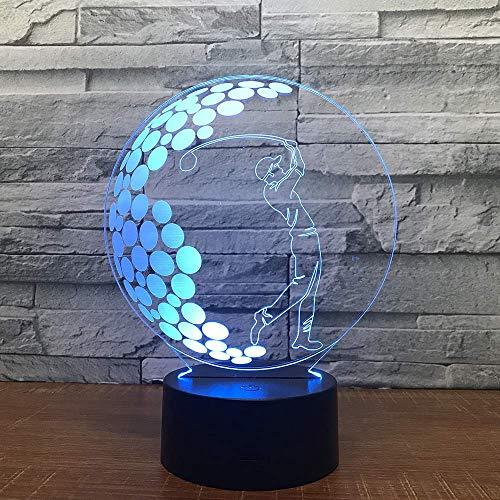 Golf 3D Led Optical Illusion Smart Night Light, 7 colores que cambian USB Power Touch Switch Decoración Lámpara Mesita de noche Lámpara de escritorio Brithday Christmas Gift for Kids