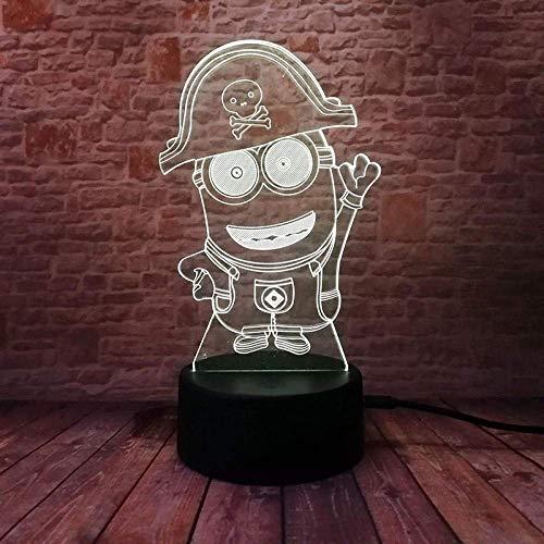 Luz nocturna 3D Lámpara De Ilusión Funny yellow pirate captain para hombres, mujeres, niños, niñas, regalo Con interfaz USB, cambio de color colorido