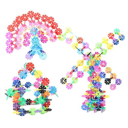 Ensemble de jouets de blocs de construction flocon de neige, 600 pièces de grands enfants épaissis de 3 à 6 ans, puzzle de développement d'intelligence, jouets pour garçons et filles, avec boîte de