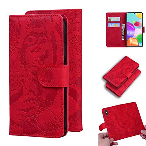 Nokia 2.4 Case, Flip Premium PU Leather Shockproof Wallet Phone Cases Embossed Tiger Folio Slim Fit Magnetic Protective Cover TPU Bumper with Stand Card Holder Slots for Nokia 2.4 red
