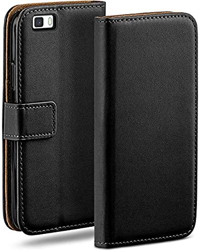moex Klapphülle kompatibel mit Huawei P8 Lite 2015 Hülle klappbar, Handyhülle mit Kartenfach, 360 Grad Flip Hülle, Vegan Leder Handytasche, Schwarz