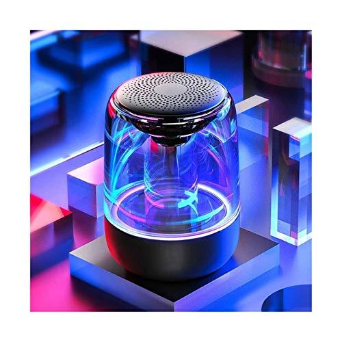 GUANGHEYUAN-J Colorido estéreo llevó Las Luces del Altavoz de Bluetooth Wireless HiFi Altavoz portátil con micrófono, Altavoces (Color : Black)