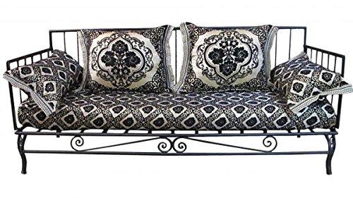 Saharashop Marroquí sofá con Estructura de Hierro Negro de Oro