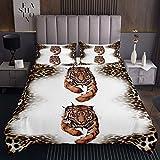 Colcha acolchada de tigre 3D, tamaño doble para niños, niñas, adolescentes, adultos, guepardo, estampado de leopardo, colcha acolchada con diseño de animales salvajes, colección de ropa de cama