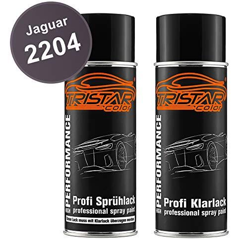 TRISTARcolor Autolack Spraydosen Set für Jaguar 2204 Carpathian Grey Perl Basislack Klarlack Sprühdose 400ml