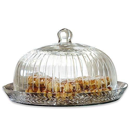 Loberon Cloche en verre avec plateau Layla - verre - H/D env. 21/30 cm