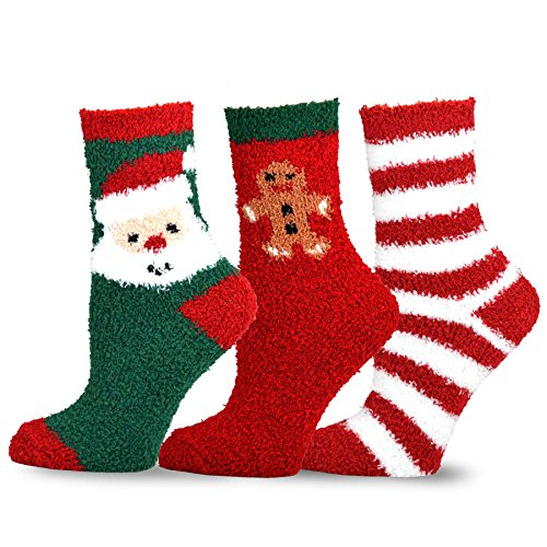 TeeHee Christmas Holiday Cozy Fuzzy Crew Socks 3-Pack for Kids (3-5 Years, Gingerbread)