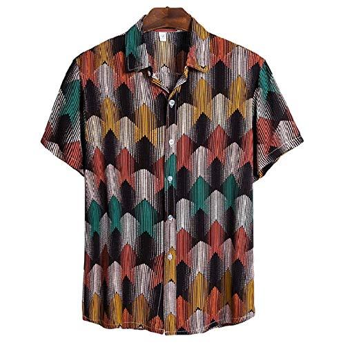 Camisa de Flores de Manga Corta Hawaiana Masculina, Solapa de Bloque de Color de Moda Camisa Transpirable cmoda Informal Estilo botn de una Sola Fila XXL