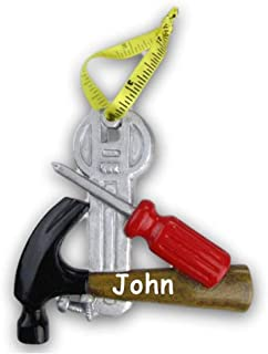 Personalized Construction Handyman Handy Woman Worker Hammer Screwdriver Wrench Hanging Christmas Ornament Custom Name