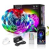 FAUETI - Tira LED adhesiva RGB 5050 de 10 m, cambia de color con App Controlador Bluetooth y 40 teclas mando a distancia, función musical, para decoración, TV, cocina, bar, fiesta