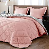 downluxe Lightweight Solid Comforter Set (Queen) with 2 Pillow Shams - 3-Piece Set - Pink and Grey - Down Alternative Reversible Comforter