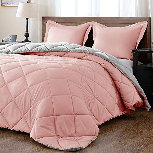 downluxe Lightweight Solid Comforter Set (King) with 2 Pillow Shams - 3-Piece Set - Pink and Grey - Down Alternative Reversible Comforter