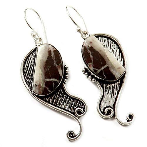 Goyal Crafts GEL69 - Pendientes colgantes de jaspe de cacao con piedras preciosas naturales bañadas en plata