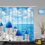 ShopHM Cortina de Baño,Ocean Sky y Gaviota de Agua de mar con Edificio Junto al mar,Cortinas de Ducha con 12 Ganchos de plástico 180 * 200cm