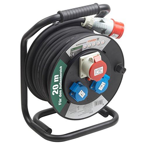 Meister kabelhaspel H07RN-F3G2,5, IP44-20 m kabel - thermische beschermschakelaar - outdoor/kabelrol met CEE- & Schuko-stopcontacten/kabelbox met verlengkabel/kabelroller met zwengel / 7435900