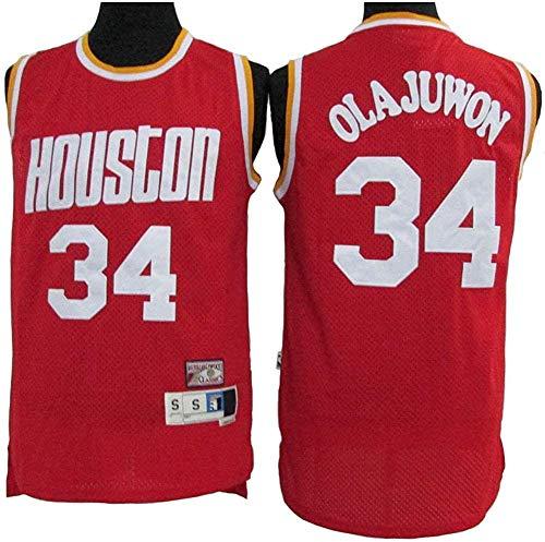 WSUN Camiseta De La NBA para Hombre Hakeem Olajuwon # 34 Rockets Camiseta De Baloncesto Sudadera De Malla Bordada Swingman Sports Top,A,M(170~175CM/65~75KG)