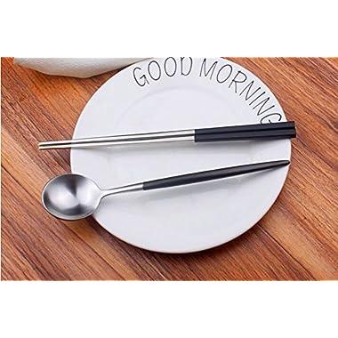 Autohome 2 Spoons and 2 Pairs Chopsticks Saintless Steel Dinner Flatware - Black&Silver
