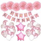 Aiva Toba Primeras Decoraciones de cumpleaños para niñas, Rosa, pancartas de Feliz cumpleaños con Globos Rosados y Pompones de Papel tisú para niña
