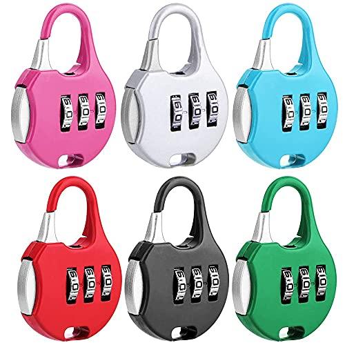 6 Piezas Candado de Combinación, Candado de combinación de 3 dígitos, Código de Candado de Combinación, Candado de Combinación Portátil de 3 Dígitos, para Mochilas, Equipaje, Gabinete (6 Colores)