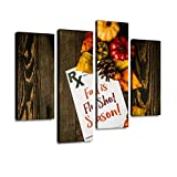 IGOONE 4 Panels Canvas Paintings - Doctor's Prescription Note with flu Shot Reminder for Fall time - Wall Art Modern Posters Framed Ready to Hang for Home Wall Decor
