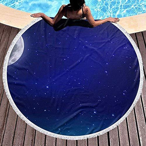 Rundes Strandtuch, Blauer Mond im Nachthimmel Hippie Happy Youth Handtuch Extra große sandfeste Decke Yogamatte mit Quasten