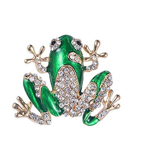 Brosche, Stahl, kleiner Frosch, grün und Strass, Weiß
