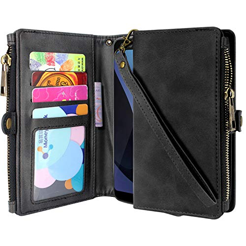 Lacass Premium Leather Flip Zipper Wallet Case Cover Stand Feature with Card Holder and Wrist Strap for Alcatel Avalon V 5059S/Alcatel 1X Evolve/Alcatel IdealXtra 5059R/Alcatel TCL LX A502DL (Black)