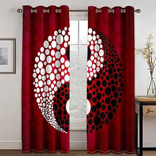 Epinki Cortina Ventana Dormitorio Juvenil Patrón de Yin Yang Rojo Negro Blanco Cortina Poliester, Disponible en 21 Tamaños, Talla 214x183CM