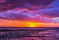 大人のためのジグソーパズル1000ピース-夕日の紫の空と海の泥沼-DIY木製パズルキッズおもちゃ30x20in