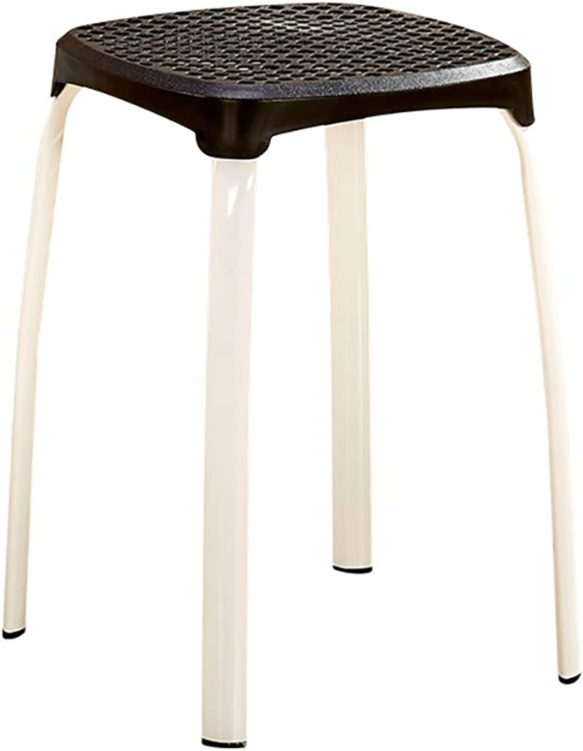 Stool Plastic Stool Metal Stool Table Stool Living Room high Stool Simple Style Four feet Solid color Size  29  29  45cm (color   E)